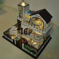 Wholesale Gift for Girl Assembling DIY Miniature Model Kit Wooden Doll House Star Island Holiday House Toy with Furnitures amp Music