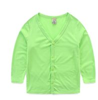 Wholesale spring autumn new kids children long sleeved T shirt collar cardigan shirt baby boy V color coat