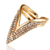 Wholesale Punk Rings Rose Gold Plated Geometric Triangle Ring For Women CZ Diamond Ring Bague Anelli Donna Anillos Mujer