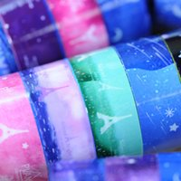 Cheap Wholesale-Wholesale 10 pcs lot starry sky Washi Pvc Roll DIY Decor Scrapbooking Sticker 25 Paper Masking Tape Adhesive