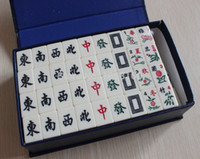 Wholesale set mm Table Game Mahjong with blue gift Package Milk white English Portable Mah jong Set New Travel Game Free Shiping
