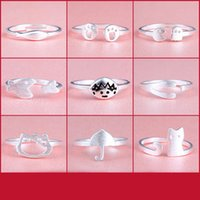 Wholesale sterling silver rings lovely silver cat ring female tail rings opening index finger rings