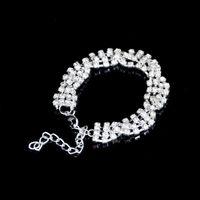 austrian crystal cuff bracelet - Silver Gold Plated austrian crystal rhinestone wrap bracelets charm bracelets wristbands adjustable fashion cuff bracelet women jewelry