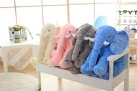 Wholesale 6 color Elephant Pillow Baby Doll Children Sleep Pillow Birthday Gift INS Lumbar Pillow Long Nose Elephant Doll Soft Plush