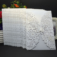 Wholesale 20Pcs Delicate Carved Butterlies Romantic Wedding Party Invitation Card Envelope Invitations for Wedding Business Party Birthday
