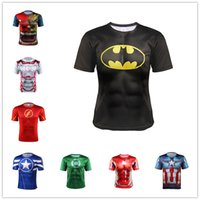 america tights - The Avengers t Shirts For Men Colors Captain America Superman Iron Man Sports t Shirt Breathable Quick Dry Tight Mens t Shirts