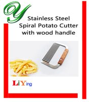 Wholesale Curly Spiral French Fry Potato Chips Cutter Crinkle Knife stainless steel Fruit Vegetable Cutting Tool wood handle slicer dicer pasta maker