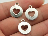 Wholesale WYSIWYG mm antique silver plated cut off heart charms