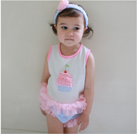 baby cupcake clothing - Sleeveless Cupcake Tops Tulle Shorts Headband Babies Girl Romper Suit Cotton Kids Clothes Baby Girls piece Rompers Jumpsuit K7393