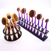 Cheap Newest 10pcs set Toothbrush Makeup Brush brushes Set Artist Oval Brushes gold with silicon Blush Powder Contour Toothbrush Pro Makeup tools