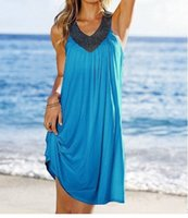 Bohemian Dresses ball loose diamonds - Loose Dress New Fashion Multicolor Sexy V neck Diamond Sleeveless Summer Beach Women Chiffon Dress Plus Size