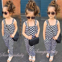 Wholesale Baby girls INS fashion wave jumpsuits children sleeveless stripe rompers color kids INS Clothes