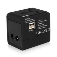 achat en gros de adaptateur usb international universel-All in One AC Power Plug Adapter 2 USB Port World Voyage Chargeur Universal International Adaptateur Plug convertisseur UA US UK UE