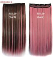 el cambio de color marrón oscuro con clip color rosa ombre en extensiones de cabello para las mujeres de 60 cm de largo postizo sintético recta