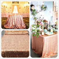 Wholesale Rose Gold Sequin Table Cloth Shimmer Sparkly Overlays Tablecloths for Wedding