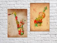 abstract guitar paintings - 2PCS set Watercolor Dream Guitar and Music Oil Painting for Home Bar Cafe Pub wall Decor x60cm Wall Painting On Canvas