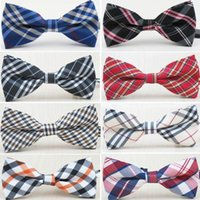 Wholesale 2016 HOT grid bow tie Colors children bowknot Adjustable stripe bowties for Men marry tie Christmas Gift Free TNT Fedex UPS