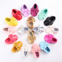 Wholesale 2016 Baby Soft PU Leather Tassel Moccasins walker shoes baby Toddler Bow Fringe Tassel Shoes Moccasin stock choose