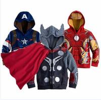Wholesale Baby Boys Marvel Avengers Hoodies Sweatshirts Kid Cartoon Thor Costume Jacket Children Spring Autumn Iron Man Outerwear Clothing