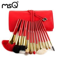 animals goats - MSQ Red Professional Fashional High Quality Animal Hair Cheap Makeup Brush Set Cosmetic Set With PU Bag