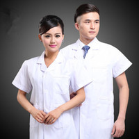 Wholesale Medical doctor white dress with short sleeves laboratory overalls Male nurse physician beautician uniform clothing