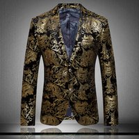 Wholesale Men s Blazers Gold Blazer For Men Suit Autumn and Winter High Quality Men Velor Married Suit Plus Blazer Slim Man Outwear jacket