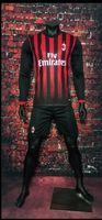athletic windbreaker - Benwon AC Milan home long sleeve soccer uniform thai quality football kits adult s athletic sports set men outdoor soccer tracksuit