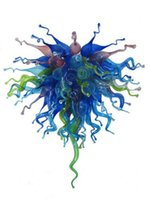 aqua green glass - LR387 Blown Glass Chandelier in Cobalt Aqua and Lime Green Colored Glass Pendant Lamps Modern Glass Art Lighting for Your Home