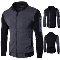 Wholesale Concise Fashion Jackets for Men Long Sleeve with Local Zipper V neck Cotton Blend Men Jackets Various Size XS XL