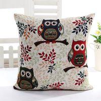 Wholesale Gray and Yellow Owl Linen Pillow Case Sofa Waist Throw Cushion Cover Modern Home Decor