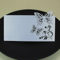 Wholesale White indication card butterflies shape memo hollow laser cutting party decoration cards peal paper quot x0 quot