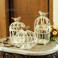 Wholesale 2016 NEW European Mediterranean style bird cage iron candlestick personalized Retro birdcage Home Furnishing wedding ornaments