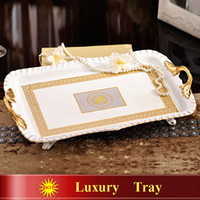 Wholesale Ceramic tray bone china ivory porcelain a variety of designs tea set tray coffee set tray serving trays fruit tray luxury gift