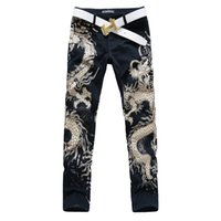 american gothic print - New Men s Printed Jeans Punk Style Gothic Painted Cotton Straight Leg Cool Jeans For Young Men