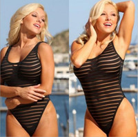 Wholesale 2016 speed to sell through a burst of sexy striped perspective of non sleeve leakage back piece swimsuit
