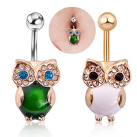 barbell kit - 316l Stainless Steel Crystal Opal Retro Owl Dangle Navel Ring Belly Barbell Piercing Kit Belly Button Ring Two Colour