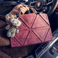 Wholesale Womens Handbag Trigonometric Geometry Patchwork Vintage Handbag Bear Square Bag Female Messenger Bag Bolsas Femninas satchel tote bag
