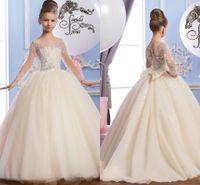 beautiful arabic - 2016 Sheer Neck Beaded Tulle Luxurious Arabic Flower Girl Dresses Vintage Child Pageant Dresses Beautiful Flower Girl Wedding Dresses F29