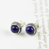 beautiful thai women - M2ES0003 Hot Selling High Quality Beautiful Thai Sterling Silver Natural Lapis Lazuli Inlaid Pretty Party Women Earring Studs