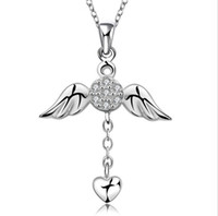 Wholesale jewelry fashion necklace silver necklace Angel wings diamond