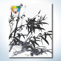 bamboo baby toys - Bamboo Wall Art DIY Painting Baby Toys x50cm Digital Canvas Oil Painting Drawing Wall Art for Colleague Gift with Metal Hooks