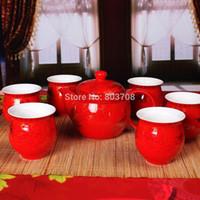 Wholesale Jingdezhen ceramic tea set wedding tea cup red ceramic teapot