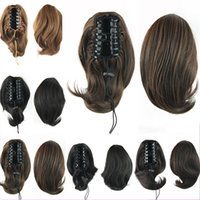 Wholesale Synthetic Brazilian Weaving Hair - Natural 10Inch 4 Colors Kindly Malaysian Weave Hair Clip In Fake Ponytail Hairpiece Short Claw On Pony Tail Hair Extension