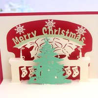 Wholesale Carve empty greeting card paper D stereoscopic creative Christmas cake candle postcard Greeting Card