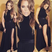 Wholesale Sexy Black Prom Dresses High Neck Chiffon with Sash High Thigh Split Evening Dresses Long Formal Party Gowns