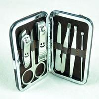 Wholesale Stainless steel set Nail Clipper Kit Care Set Pedicure Scissor Tweezer Knife Ear pick Utility Manicure Tools