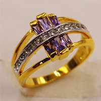 amethyst ring gold vintage - Charming Amethyst Sapphire Vintage Jewelry Women Wedding Ring Purple CZ Band KT Yellow Gold Filled Bridal Rings