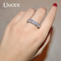 antique white gold diamond ring - UMODE White Gold Plated Antique Eternity Rings For Women Wedding Band Famous Brand Luxury Jewelry With CZ Diamond AUR0280