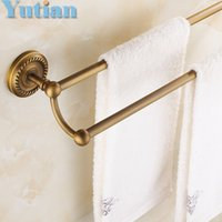 Wholesale HOT SELLING Antique Brass Bathroom towel holder Double towel bar towel rack solid brass towel rack with YT