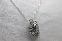 anatomical human - antique silver Anatomical Human Cerebrum Brain Anatomy Pendant Necklace